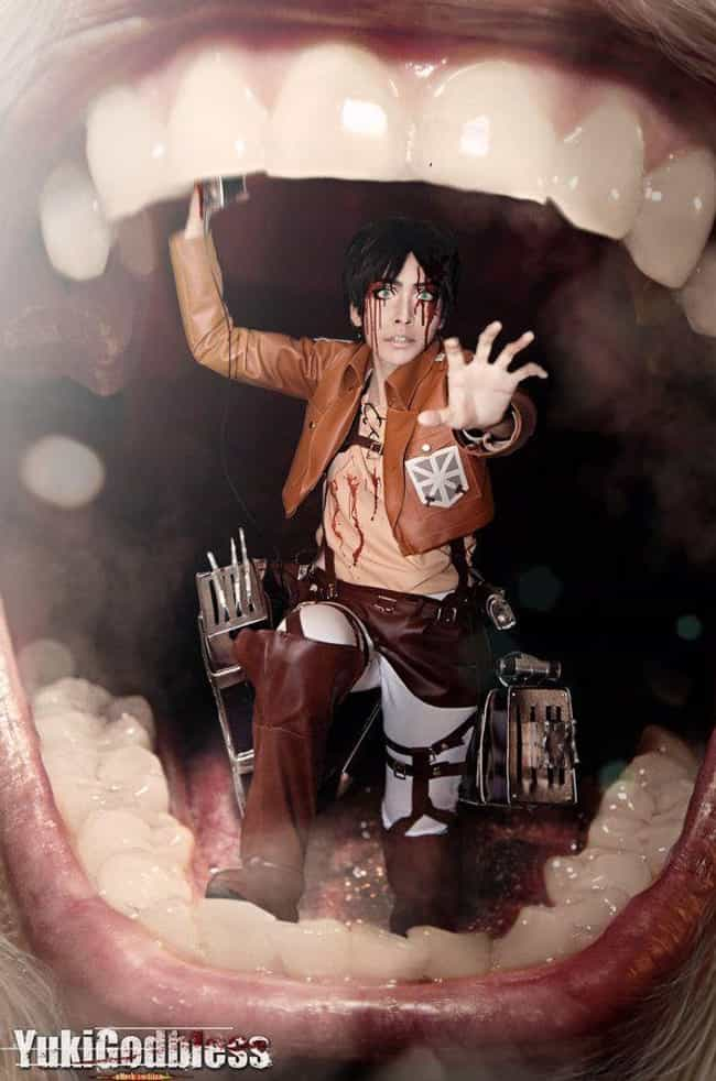 Eaten Alive is listed (or ranked) 3 on the list 21 Attack On Titan Cosplays That The Live Action Film Needs To Take Notes From