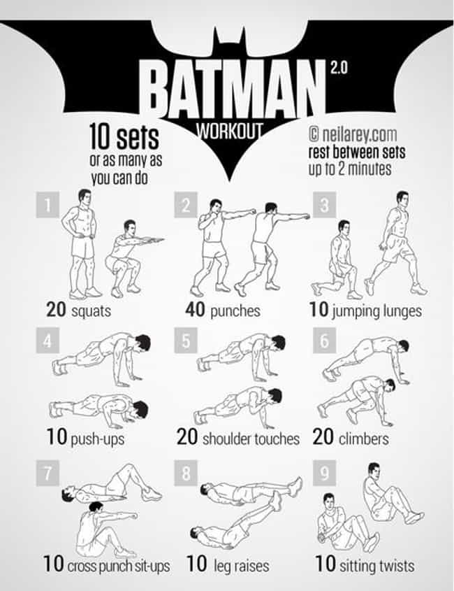 Batman 2.0 is listed (or ranked) 3 on the list The Best Pop-Culture Themed Workouts for Nerds