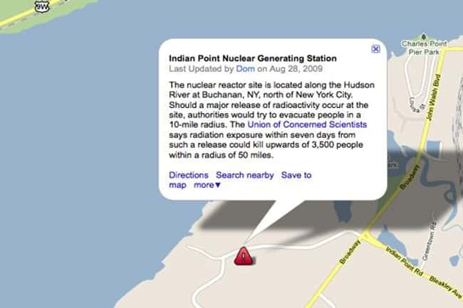 Indian Point Nuclear Power Pla is listed (or ranked) 18 on the list Google Earth Won't Let You See These 25 Places