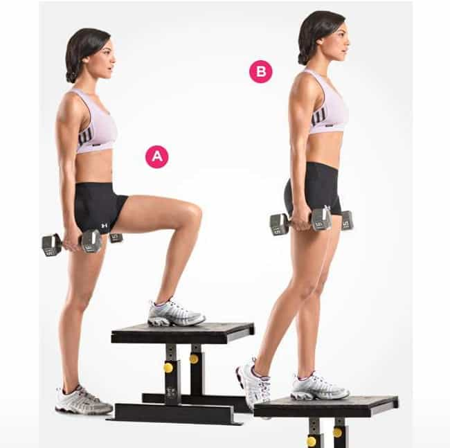Dumbbell Step Up is listed (or ranked) 4 on the list The Best Exercises for Your Butt