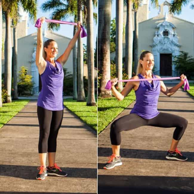 Sliding Plie Squat Pull is listed (or ranked) 2 on the list The Best Exercises To Do With Resistance Bands
