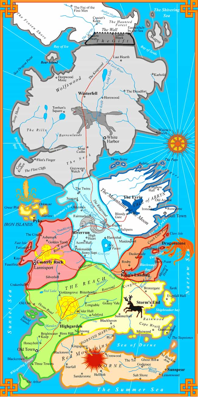 map divided by houses is listed (or ranked)  on the list the coolest. the coolest game of thrones fan maps