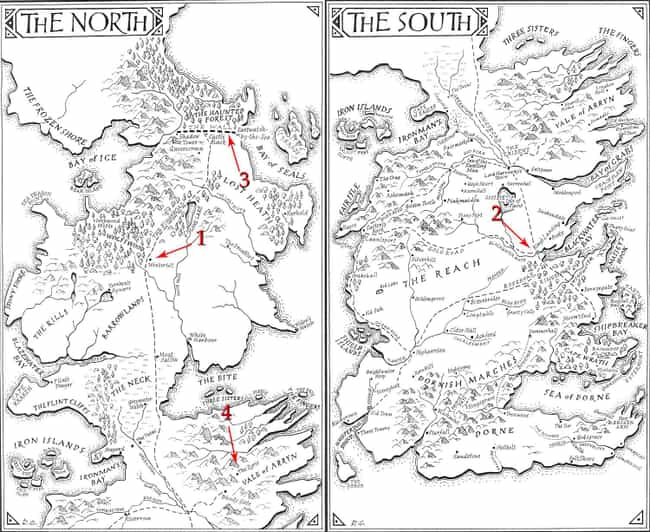 The North and the South is listed (or ranked) 3 on the list The Coolest Game of Thrones Fan Maps