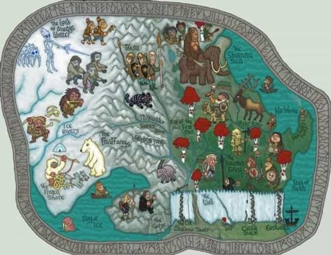 North of the Wall is listed (or ranked) 2 on the list The Coolest Game of Thrones Fan Maps