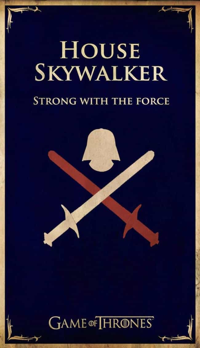 House Skywalker is listed (or ranked) 2 on the list 20 Game Of Thrones House Sigils For Pop Culture Icons