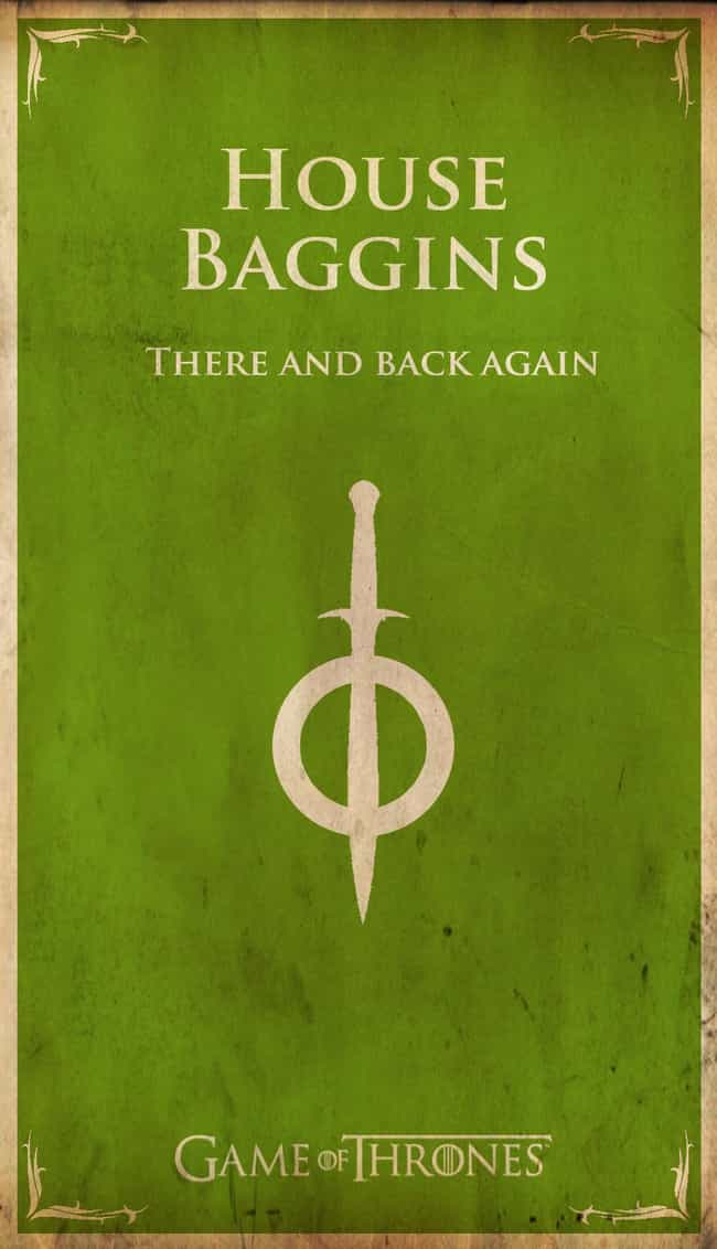 House Baggins is listed (or ranked) 3 on the list 20 Game Of Thrones House Sigils For Pop Culture Icons