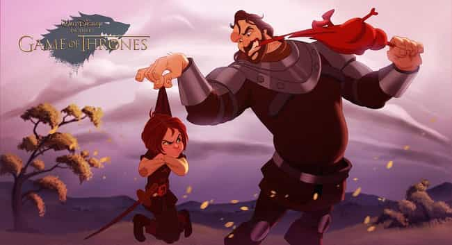 Arya & The Hound is listed (or ranked) 1 on the list These Fans Drew Your Favorite Game Of Thrones Characters As Disney Cartoons