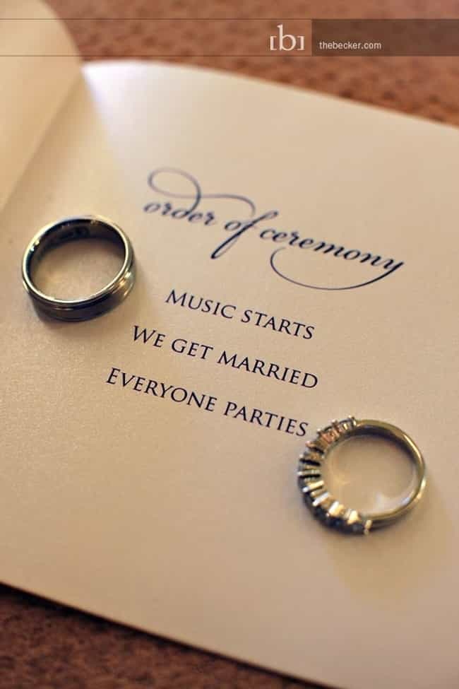 Keep the Program Simple ... is listed (or ranked) 4 on the list 26 Quirky Ideas for an Offbeat Wedding