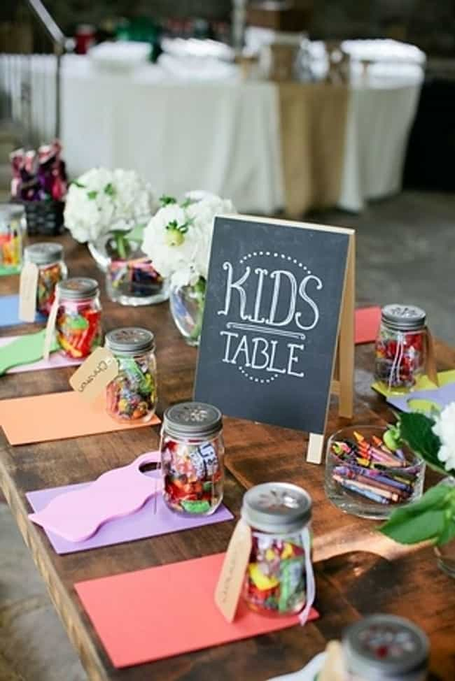 Put Crayons at the Kids Table is listed (or ranked) 1 on the list 26 Quirky Ideas for an Offbeat Wedding