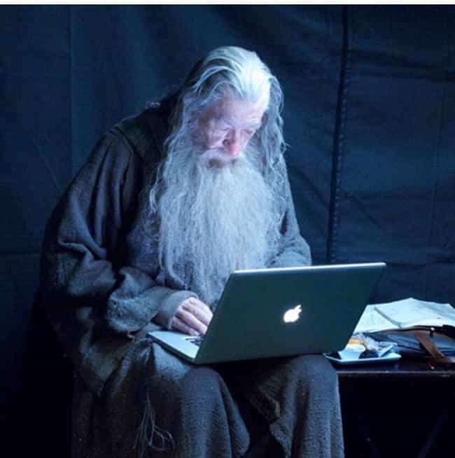 Gandalf Checks His Email is listed (or ranked) 1 on the list 64 MORE Behind the Scenes Photos from Famous Movies