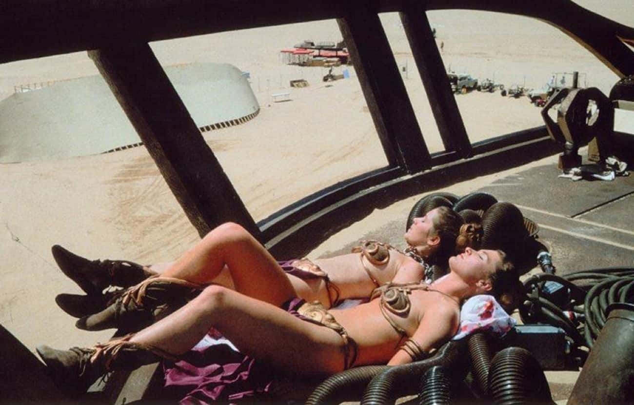 Twin Leias Sunbathing is listed (or ranked) 2 on the list Rare Star Wars Behind-The-Scenes Photos