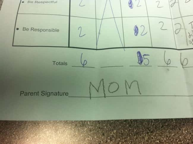 An Authentic Parents' Signatur is listed (or ranked) 9 on the list 53 Hilarious Test Answers From Kids