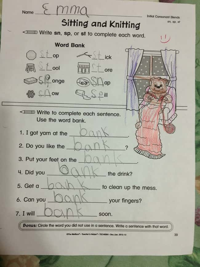 Sitting and Knitting is listed (or ranked) 49 on the list 53 Hilarious Test Answers From Kids