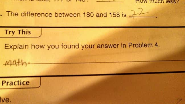 Math Problems is listed (or ranked) 18 on the list 53 Hilarious Test Answers From Kids