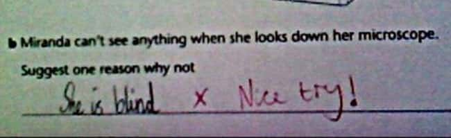 Oh, Miranda is listed (or ranked) 13 on the list 53 Hilarious Test Answers From Kids