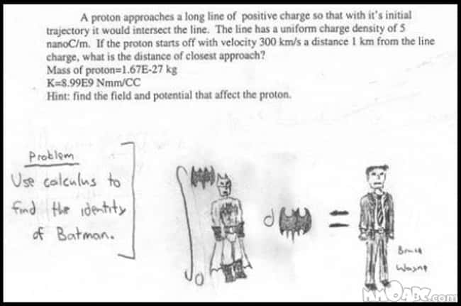 The Batman Problem is listed (or ranked) 53 on the list 53 Hilarious Test Answers From Kids