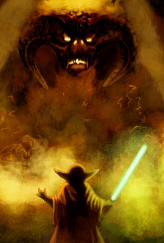 Yoda Versus The Balrog ... is listed (or ranked) 1 on the list 19 Nerdtastic Pieces of Pop Culture Art