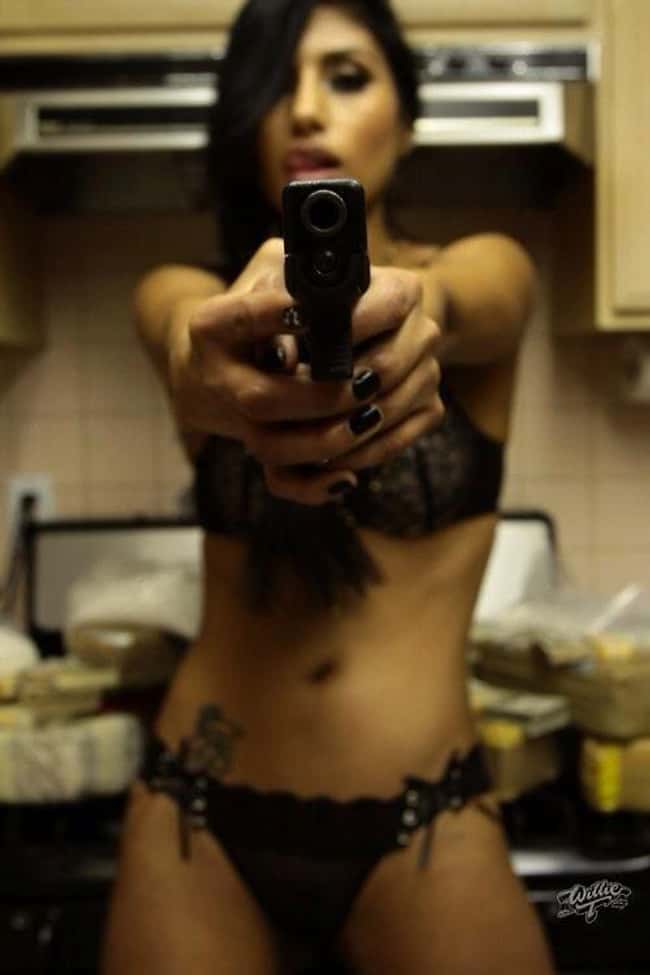 Insert Women + Kitchen Joke is listed (or ranked) 7 on the list Girls in Bikinis Shooting Guns