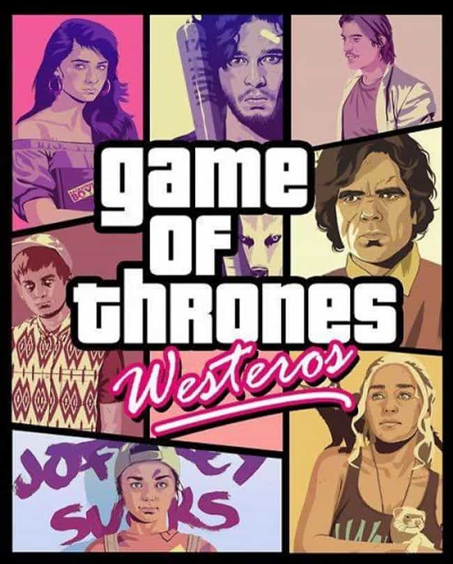 Grand Theft Auto is listed (or ranked) 6 on the list 40+ Epic Game of Thrones Mashups You Didn't Know You Needed