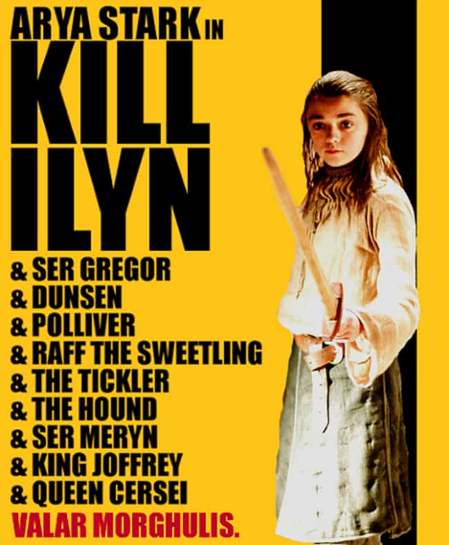 Kill Bill is listed (or ranked) 3 on the list 40+ Epic Game of Thrones Mashups You Didn't Know You Needed