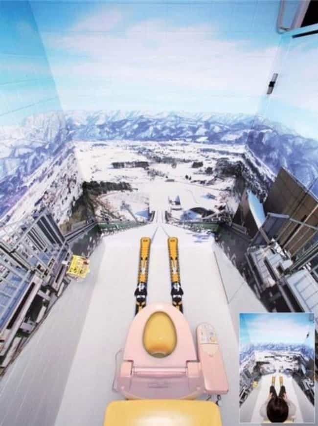 Skiing and Peeing is listed (or ranked) 7 on the list 14 Bizarre Toilets From Around the World