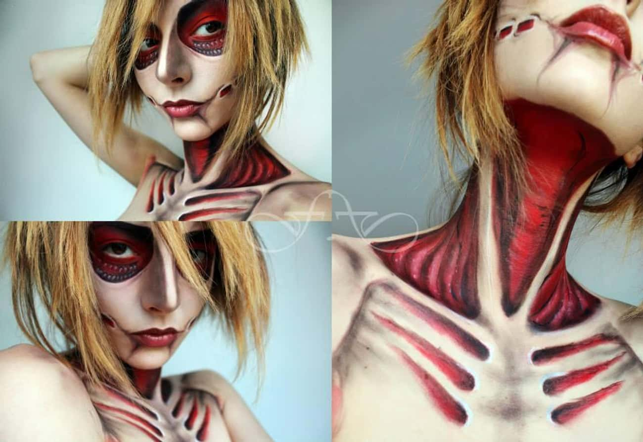 Female Titan is listed (or ranked) 4 on the list 30+ Special Effects Makeup Transformations
