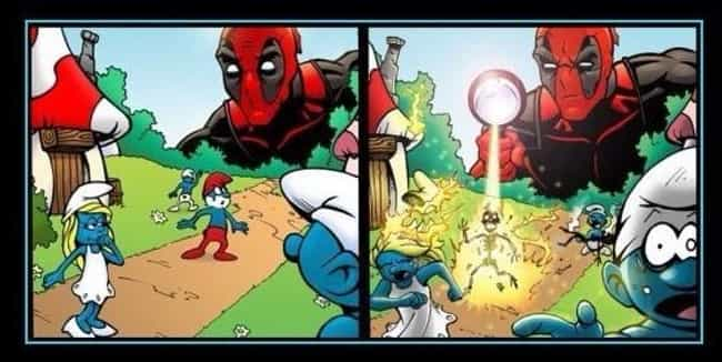 Deadpool Meets The Smurf... is listed (or ranked) 1 on the list 59 Hilarious Deadpool Comics Moments