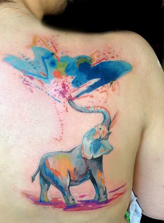 Watercolor Geometric Elephant Tattoo