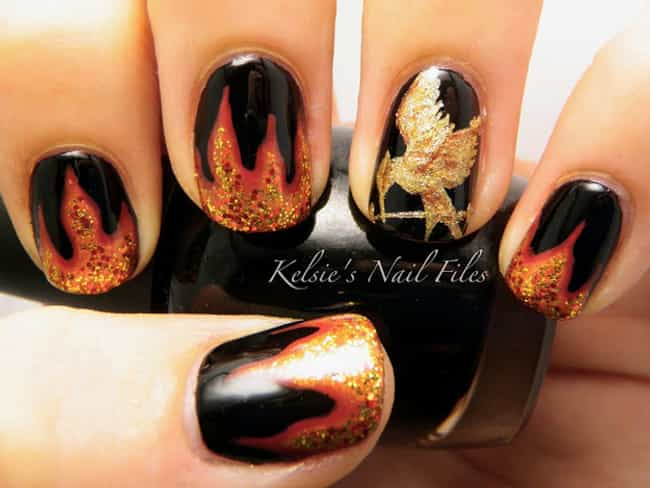 Hunger Games is listed (or ranked) 4 on the list 100+ Awesomely Geeky Manicures