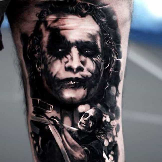 Greyscale Joker is listed (or ranked) 3 on the list The Best DC Comics Tattoos