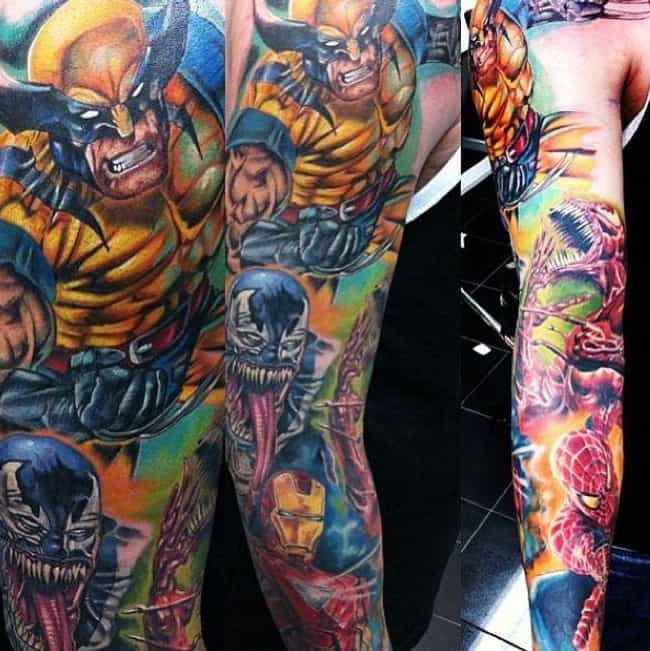 Wolverine/Venom/Spiderman is listed (or ranked) 3 on the list The Best Marvel Comics Tattoos