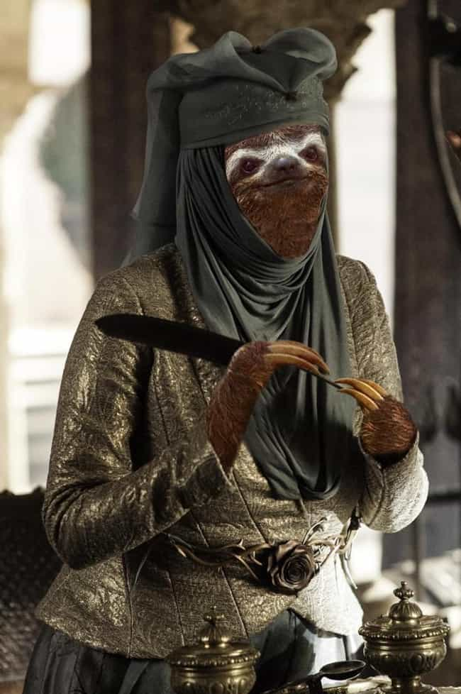 Olenna Tysloth is listed (or ranked) 3 on the list 13 Game of Thrones Characters as Sloths