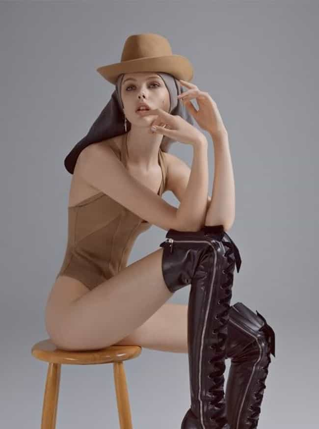 Sitting on a stool in a hat is listed (or ranked) 1 on the list The Hottest Frida Gustavsson Photos
