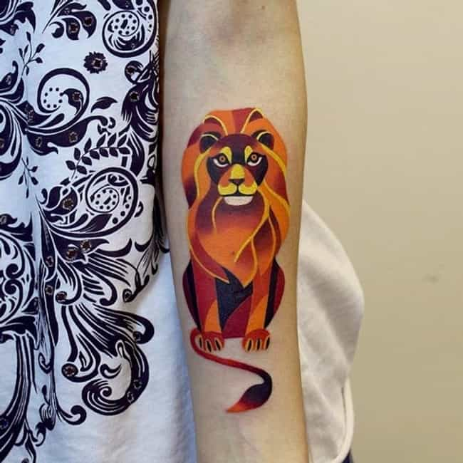 Vibrant Lion is listed (or ranked) 4 on the list 30 Amazing Geometric Tattoos
