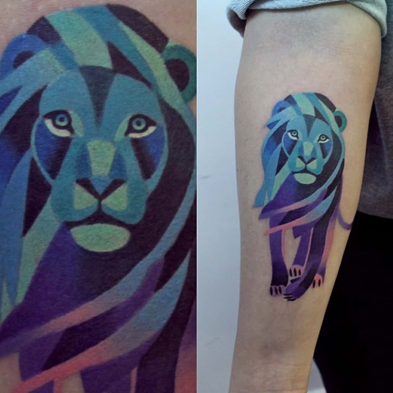 Purple and Pink Lion is listed (or ranked) 2 on the list 30 Amazing Geometric Tattoos