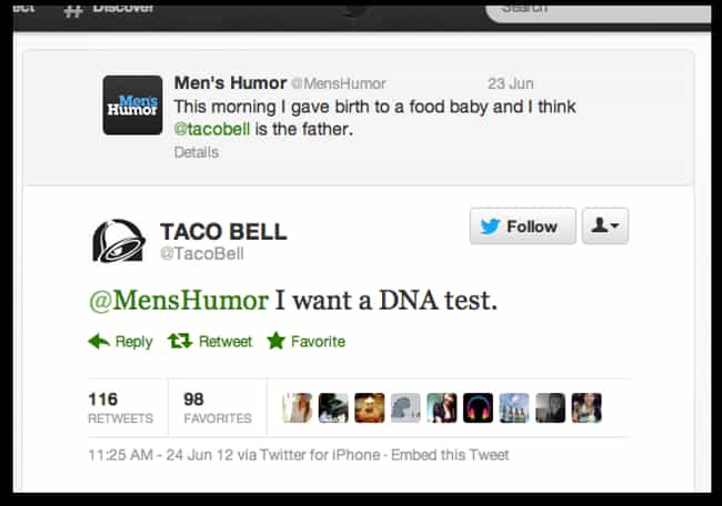 Food Babies Are Serious ... is listed (or ranked) 4 on the list The 40 Best Taco Bell Tweets