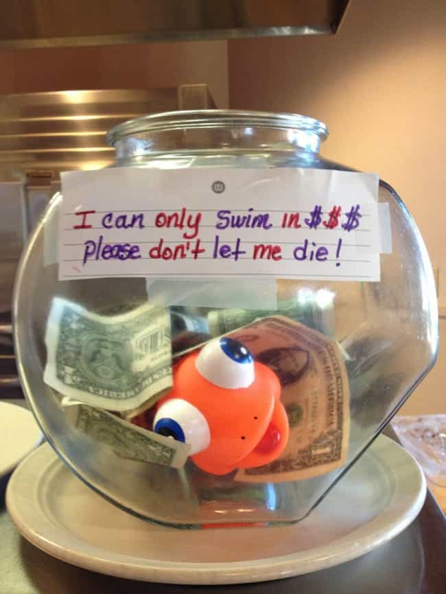 Nemo Nooooooo is listed (or ranked) 4 on the list 16 Funny Tip Jars That Would Earn Your Quarters
