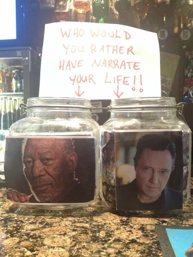 I'd Go Walken is listed (or ranked) 2 on the list 16 Funny Tip Jars That Would Earn Your Quarters