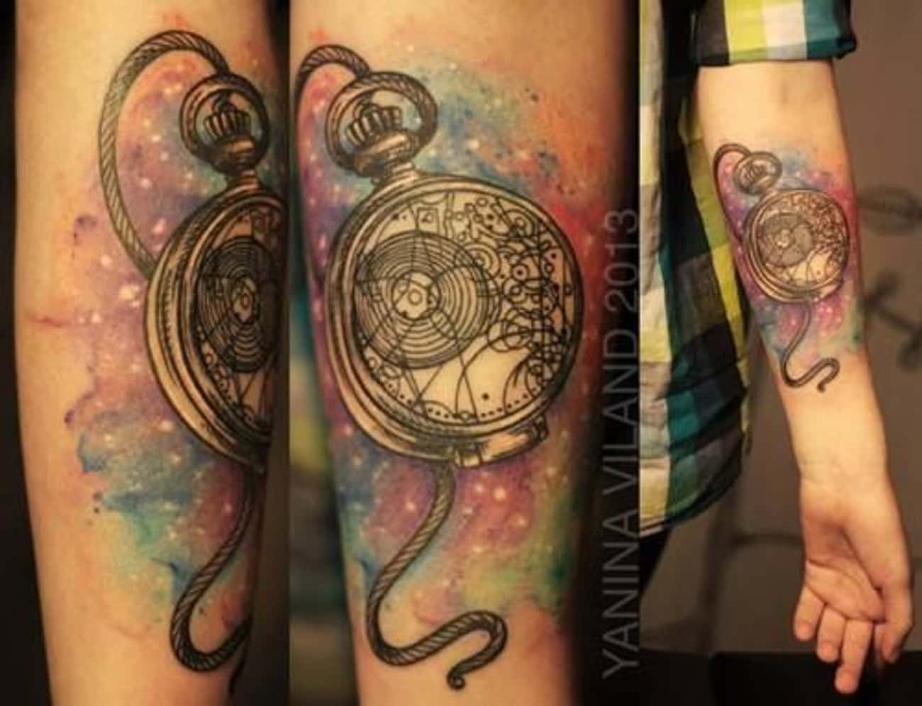 Pocket Watch Space Watercolor is listed (or ranked) 4 on the list 60+ Wibbly Wobbly Doctor Who Tattoos