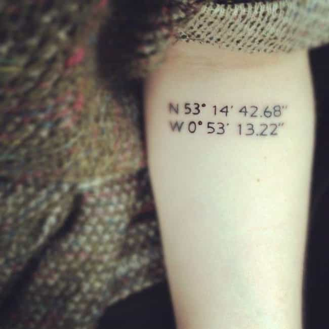 Special Place Coordinates is listed (or ranked) 3 on the list The Coolest Minimalist Tattoos