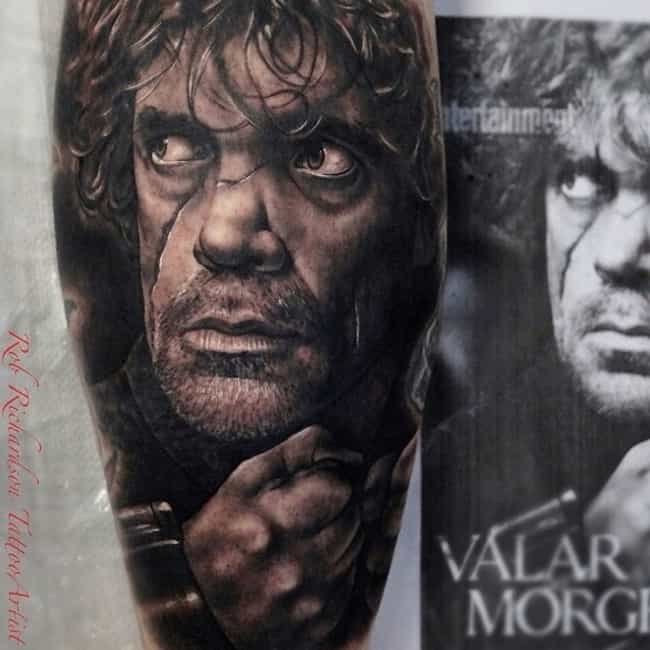 Battle Worn Tyrion is listed (or ranked) 1 on the list The Coolest Game of Thrones Inspired Tattoos