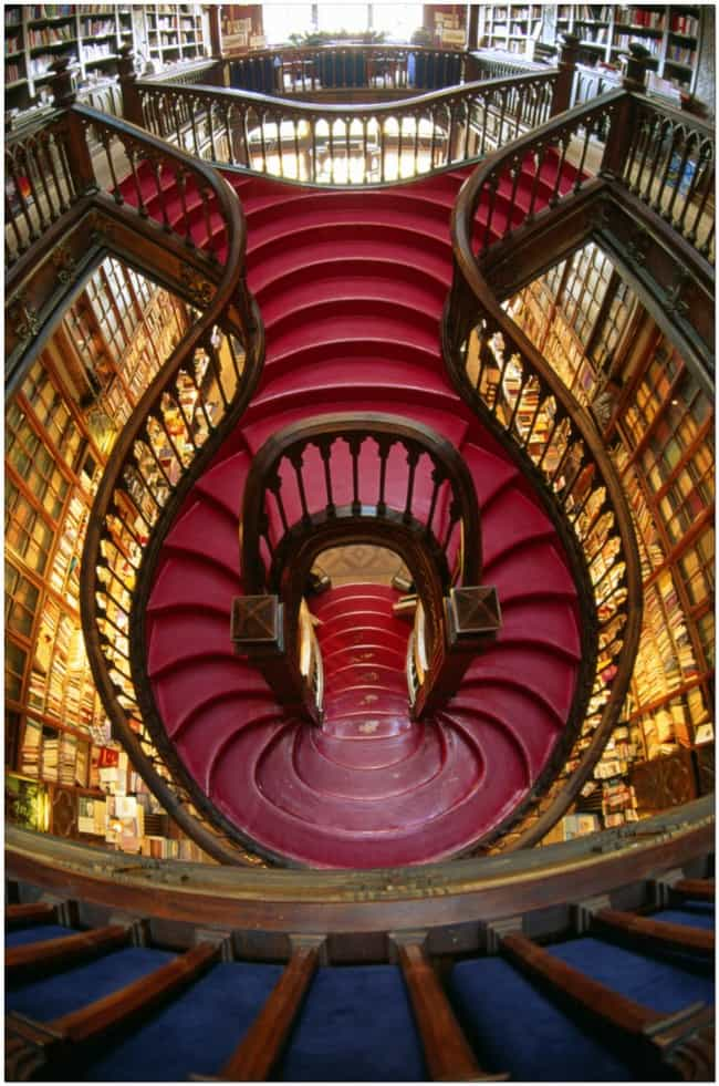 Lello Bookstore, Porto, Portug... is listed (or ranked) 3 on the list The Most Beautiful Staircases on Earth