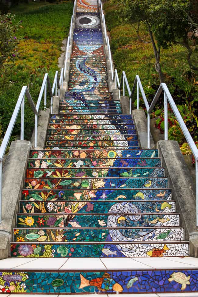 16th Avenue Tiled Steps, San F... is listed (or ranked) 4 on the list The Most Beautiful Staircases on Earth