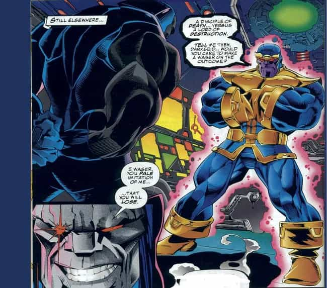 Darkseid and Thanos is listed (or ranked) 3 on the list The Most Shameless Marvel/DC Counterparts & Analogs
