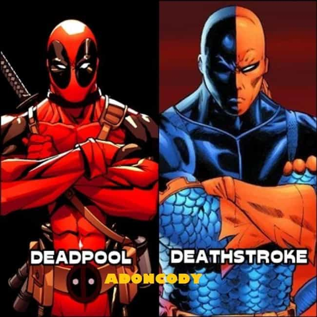 Deathstroke and Deadpool is listed (or ranked) 4 on the list The Most Shameless Marvel/DC Counterparts & Analogs