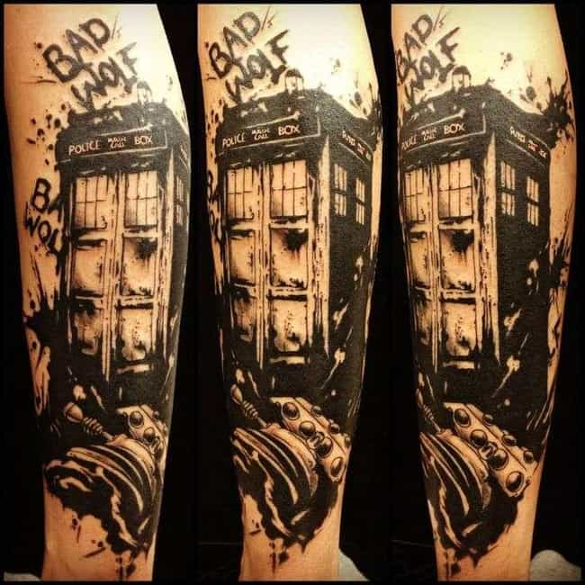 Bad Wolf Tardis is listed (or ranked) 2 on the list 21 Doctor Who TARDIS Tattoos