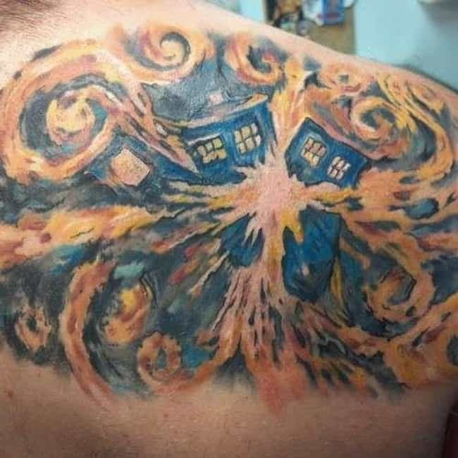 Exploding Tardis is listed (or ranked) 3 on the list 21 Doctor Who TARDIS Tattoos