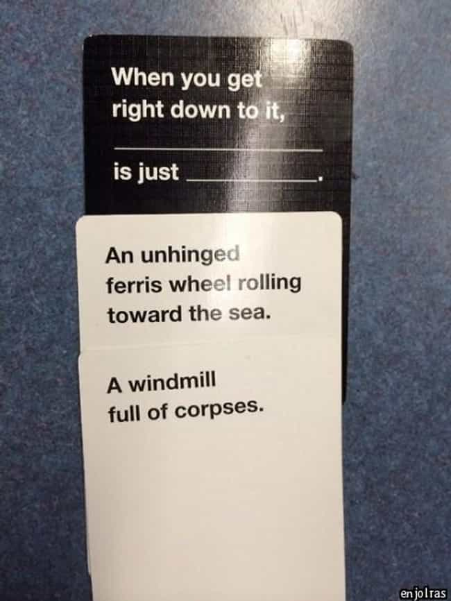 A Match Made in a Factory is listed (or ranked) 4 on the list 51 Hilariously Offensive Cards Against Humanity Moments