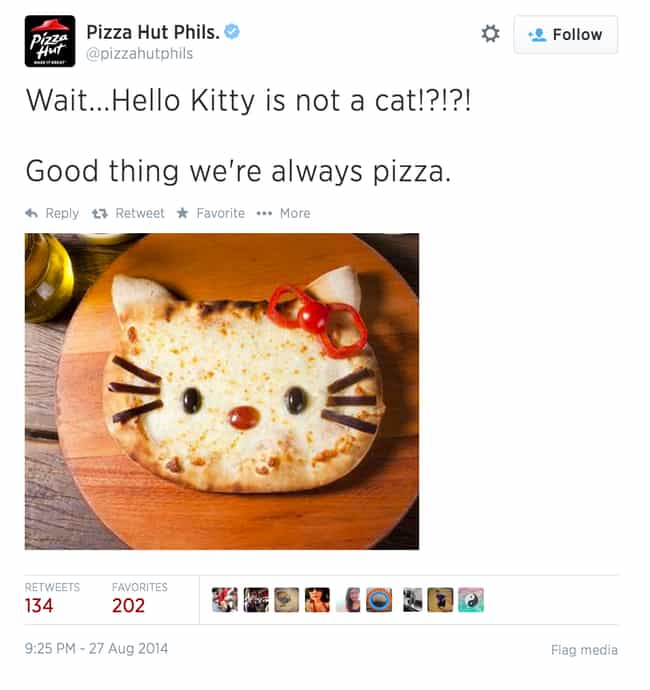 Pizza Hut Is Always Pizza is listed (or ranked) 4 on the list Hello Kitty Is Not A Cat! The Internet Reacts