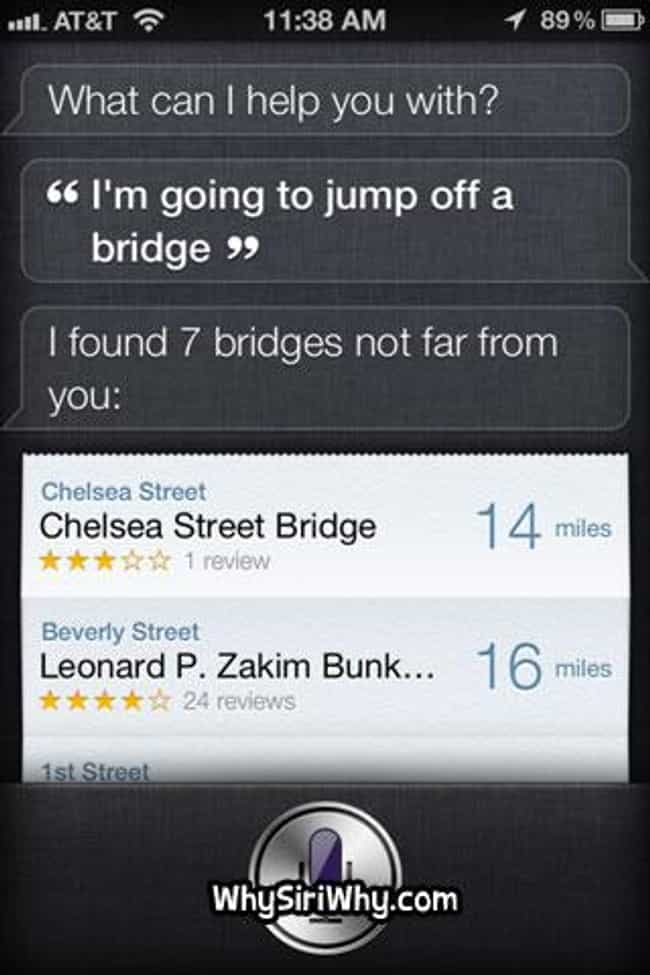 ELIMINATE ALL HUMANS - S... is listed (or ranked) 3 on the list 52 Siri FAILs That Will Ruin Your Day